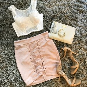 Nude Lace Up Spandex Mini Skirt